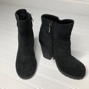 Sam Edelman black suede block heal booties 6.5